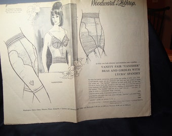 1965 Washington Post Vanity Fair Bras and Girdle Ads  Moygashel Linen Tweed Dresses.