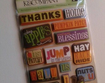 Autumn Days Word Dimensional Scrapbook Sticker Embellishments from K&Company // Craft Supply 14pcs