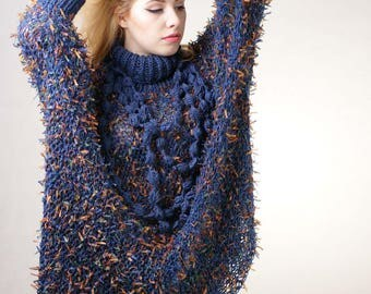 Multicolor Plus size Sweater Multicolor Oversize Sweater Full Figure Sweater Curvy sweater Cardigan Tunic
