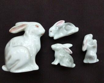 Japan made ceramic Rabbit with 3 bunnies vintage