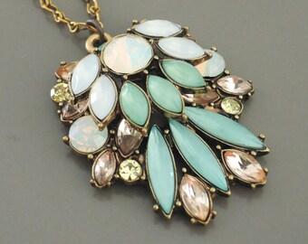 Vintage Inspired Necklace - Opal Necklace - Mint Green Necklace - Brass Necklace - handmade Necklace - Pendant Necklace