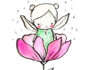 Instant Download -  Flower fairy art print, watercolor print, baby gir, nursery illustration, nursery wall art, sweet