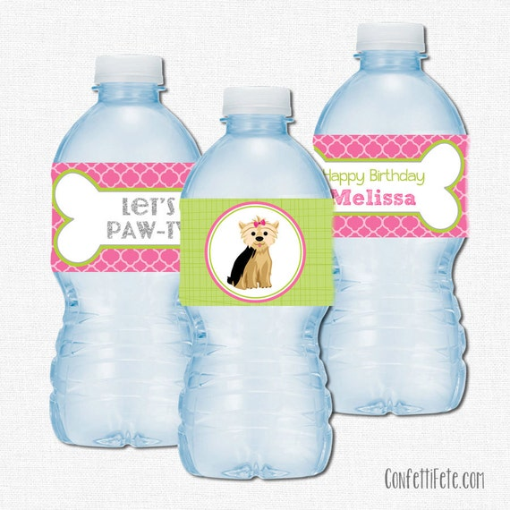 Puppy Water Bottle Labels Puppy Party Decorations Yorkie