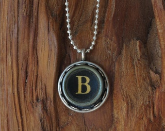 The Letter B Vintage Typewriter Key Necklace Pendant