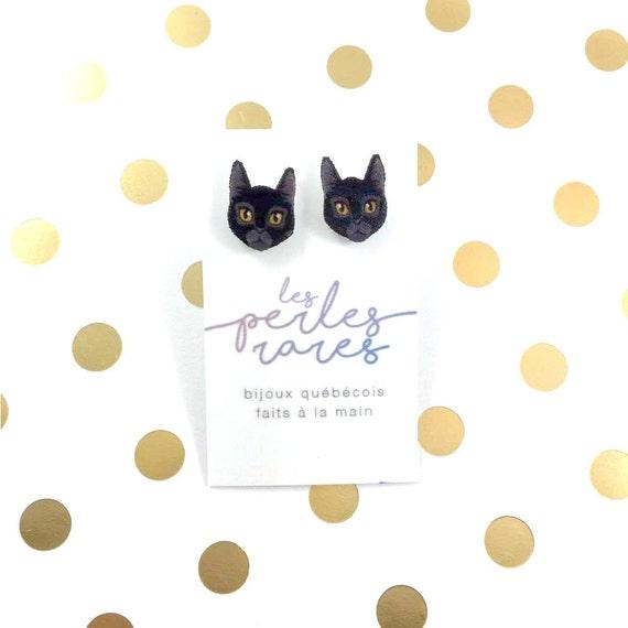 black cat, earring, catlover, black catlover, halloween cat, plastic, stainless stud, handmade, les perles rares