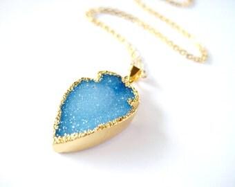 Blue Druzy Arrowhead Gold Necklace