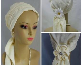 Summer Gauze Turbans French Vanilla | Volumizer Chemo Headwear | Cancer Patient Hat | Hair Covering | Tichel Mitpachat Head Wrap | Beach Cap