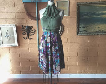 "Ready Made- Standard 24"" long Plum Floral Mesh with Cypress Olive~ Octopus Infinity Wrap Dress~ Short circle skirt dress"