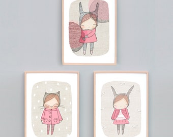 Art Print Set Three, Girls Bedroom Art, Pink Bedroom Art Prints, Animal Nursery Prints, Bunny Print, Kitty Cat Art Pink