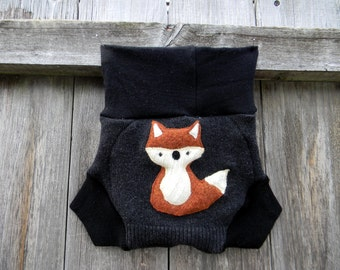Upcycled Merino Wool Soaker Cover Diaper Cover With Added Doubler Black With Fox  Applique MEDIUM 6-12M