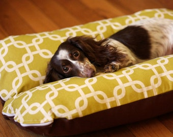 Modern Green Squares, Bunbed, Dachshund Dog Bed, Small Dogs, Modern Mid Century Decor, Hot Dog Bed, Dachshund Bed, Dog Burrow Bed