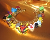 Custom OOAK One of a Kind Legend of Zelda Majoras Mask Charm Bracelet Hand Sculpted Charms by TorresDesigns Collectible Gift RTS