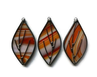 Stained Glass Leaves - Set of 3 in Orange Suncatchers