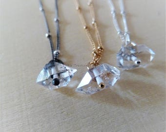 Herkimer Diamond, Raw Stone,  Double Terminated Natural Clear Crystal, April birthstone, Arias, Zodiac,Raw Herkimer Diamond crystal necklace