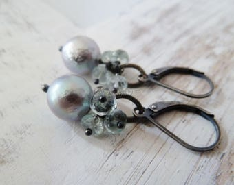 Lustrous silver grey Pearl with Aquamarine. Pearl earrings. Aquamarine earrings. Drop earrings. June birthstone. Cluster earrings