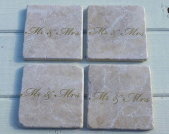 Mr and Mrs Coaster Set of 4 Tea Coffee Beer Coasters
