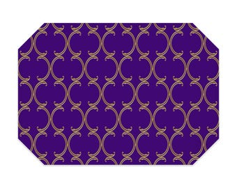 Purple placemat, purple placemats, faux gold Moroccan lattice pattern, cloth placemat, washable polyester fabric placemat, table linens
