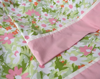 Pretty Pillowcases Pair Pink White Green Flowers Floral Print Standard Size Made from Vintage Fabric Set Handmade