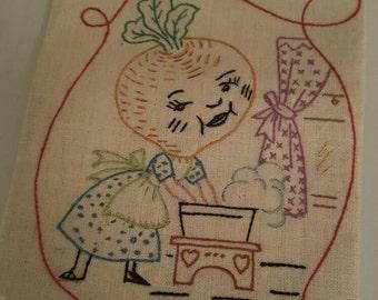 Vintage linen tea towel embroidered vegetable - anthropomorphic kitchen