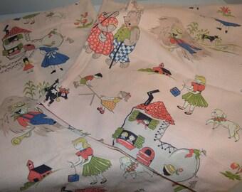 1950s fabric curtains Nursery Rhyme Fairy Tale pink vintage material retro bedroom decor