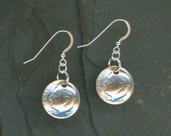 40th Birthday Gift 1977 Dime Earrings 40th Anniversary Gift Coin Jewelry 1977 Dimes Women Gifts