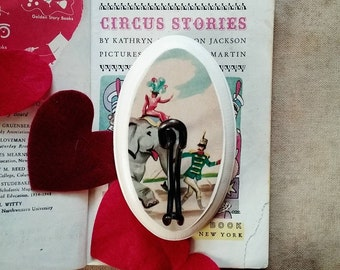 Circus Themed Wall Hook, Wall Hook Made From a Vintage Book Illustration, Children's Room Decor, Elephant Wall Hanger