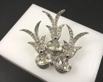 Cute Bird Brooch, Vintage Jewelry, Rhinestone Jewelry, Rhinestone Brooch, Bird in Nest Pin, Silver Tone Vintage Brooch, Animal Lover Gift