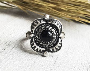 Onyx Ring - Handmade Onyx Ring - Sterling Silver - Protection Ring - Shield Ring - By Ashley Goings - Made to Order - All Sizes