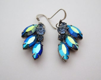 Vintage Blue Borealis Earrings Clip Ons Converted to Pierced
