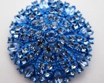 Vintage Blue Enamel Brooch with Baby Blue Rhinestones