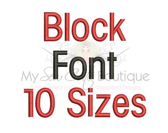 Block Monogram Font - BX PES Machine Embroidery Fonts Designs - 10 Sizes - Instant Download