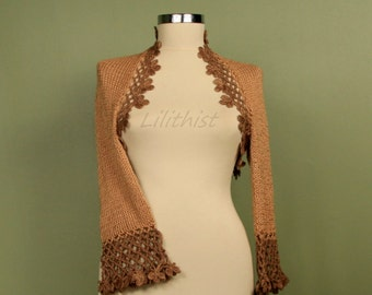 Knit Shrug and Bolero, Crochet Shrug, Knit Bolero, Brown Shrug, Caramel Crochet Bolero, Women Sweater Cardigan, Sale