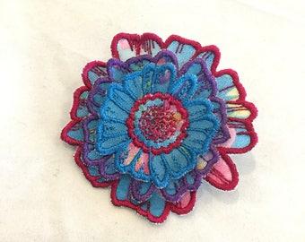 3D Layered Fabric Flower Clip (cobalt/magenta)