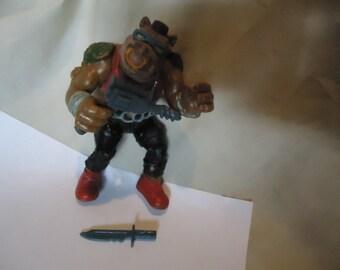 Vintage 1988 TMNT Teenage Mutant Ninja Turtles Bebop Action Figure With Weapons Toy by Mirage Studios, collectable