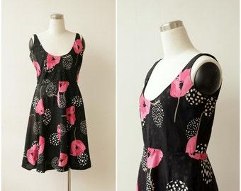 1960's Floral Dress Black Mod Dress Picnic Dress Garden Romanic Dress Poppies Flower Womens Dress M L Sheath Midi Dress