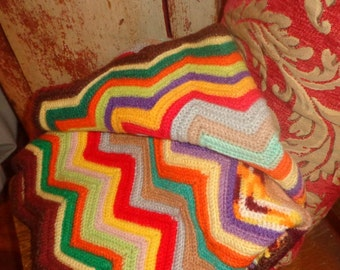Vintage Zigzag Crochet Afghan Rich Colors Chevron Ripple Jewel Tone Throw