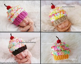 Newborn Photo Prop, Knit Cupcake Baby Hat, Newborn Girl Photo Prop, Baby Cupcake Hat, Children Cupcake Hat, Newborn Boy Photo Prop