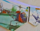 HELICOPTERS BANNER Vintage Little Golden Book storybook Bunting Paper Children story book Decoration Eco Baby Shower Birthday Party Boys