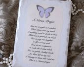 A Nurses Prayer wood wall sign, Shabby white, butterfly purple, Nurse gift, graduation gift