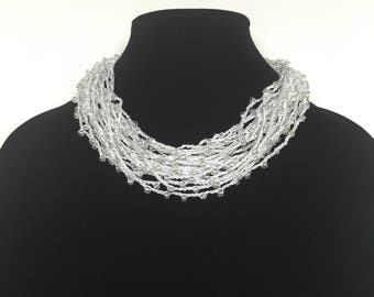 Crocheted multi-strand beaded necklace