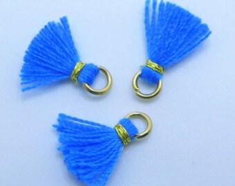 Mini Cotton Jewelry Tassels with Gold Binding and Gold Plated Jump Ring, Blue Tassels, Small Blue Tassels, 3 pcs, Approx 10mm, MT2, Zardenia