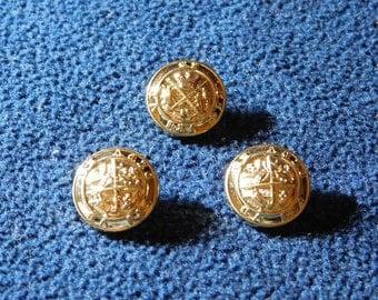 "Vintage Gold Crest Coat of Arms Crown Thistle 5/8"" Shank Buttons --  3pcs   (B520)"