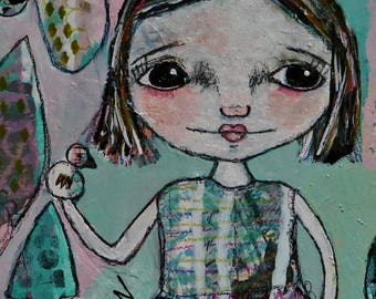 Mixed media collage art print, Whimsical Folk Art Girl, LDS Art,  Christian Art, Primitive art,  listen- by Judie Parsons
