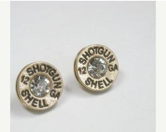 Sale| Bullet Earrings - Ammo Button - Western Jewelry - Gold - 12 Gauge Earrings - Rhinestone Shotgun Shell Casing Earrings - Bullet Jewelry