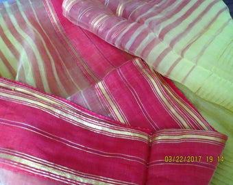 Chiffon sari, red and yellow sari, sheer saree