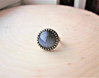 Black Cat's Eye Ring Black Glass Ring Black Ring Round Black Ring Round Cats Eye Ring