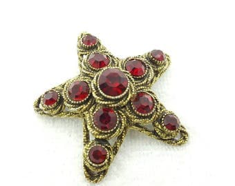 Har  Signed Large Red Rhinestone Star  Brooch Dramatic and Rich Rare