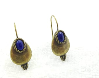 Lapis and Old Gold hook earrings Signed C Stein rustic Boho