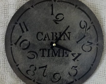 9 Inch CABIN TIME Wall CLOCK in Shades of Gray with Jumbled Numbers
