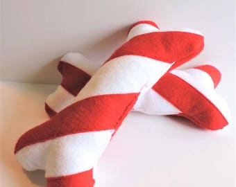 Red/White Candy Cane Stripe Durable Dog Bone Toy With/Without Squeaker - Felt/Canvas Christmas Dog Bone -Squeaky/Non-Squeaky Large Bone